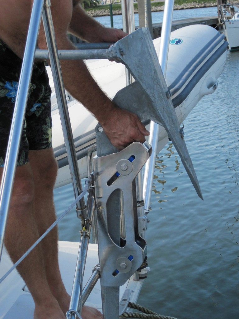Our 45 lb Mantus Anchor in the bracket on our stern rail.